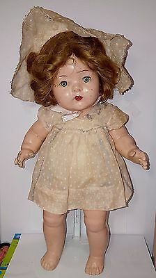 """VINTAGE 1939 Baby Marilyn Doll 18"""" COMPOSITION  RELIABLE Toy Co. Canada Teeth"""