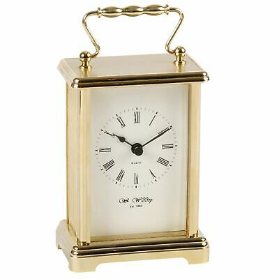 Traditional Gold Gilt & White Carriage Mantel Clock Anniversary Gift