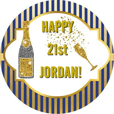 Personalised Glossy Celebration, 21St Birthday Stickers Any Age Any Text