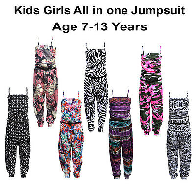 Girls Kids Sleeveless Floral Aztec Camouflage  Zebra Jumpsuit Age 7-13 Years