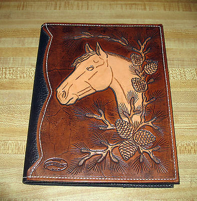 Tooled Leather Artisan Horse & Pine Cone Photo Album 4x6 Pics Book Cover