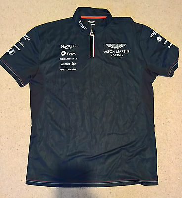 NEW GENUINE HACKETT 2016 ASTON MARTIN RACING TOTAL LeMANS POLO Size = LARGE CREW