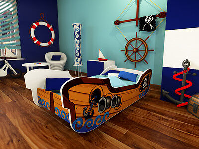 Kids Toddler Bed Frame with mattress PIRATE SHIP 160 x 80