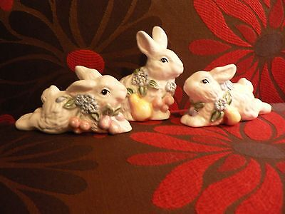 Vintage POTTERY BARN Bunny Rabbits 1998 Country Home Decor Easter Spring Set 3