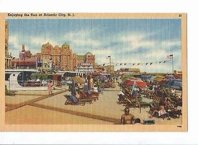 Vintage Postcard Linen Enjoying The Sun At  Atlantic City New Jersey