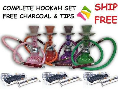 Nargila Hookah Pumpkin Shisha Smoke Huka Water Pipe Bowl 10 Pcs Coal Tips 1 Hose