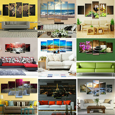 5pcs HD Unframed Canvas Modern Wall Art Oil Painting Picture Print Home Decor