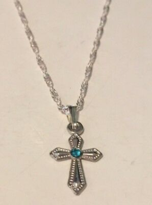 Children's Small Cross Necklace Blue Rhinestone Religious Communion
