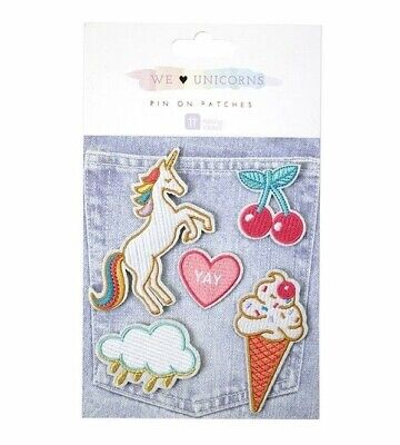 We Heart Unicorns Pin on Patches by Talking Tables Rainbow, Ice Cream