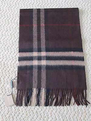 NWT Authentic Burberry Dark Chestnut Brown Check Cashmere Long Fringe Scarf $435