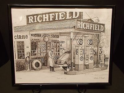 Pen & Ink Drawing of RICHFIELD Gas Station, ca '40s~Ltd.Ed. by Michael S. Smith