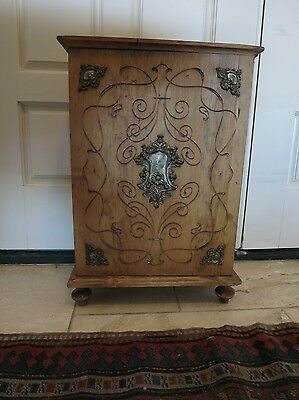Antique English Pine Footed Carved Cabinet / End Table with Cartouche, Shelf