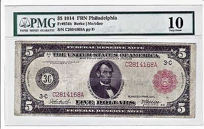 PMG 1914 RED SEAL $5 Dollar Large US Federal Reserve PHILADELPHIA, PA, Note
