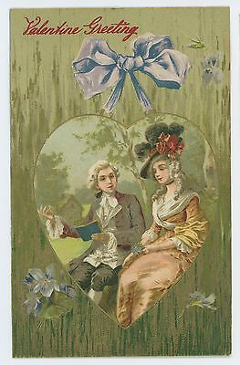Valentine's Day Greeting, Antique Looking Federal Style Couple Vintage Postcard