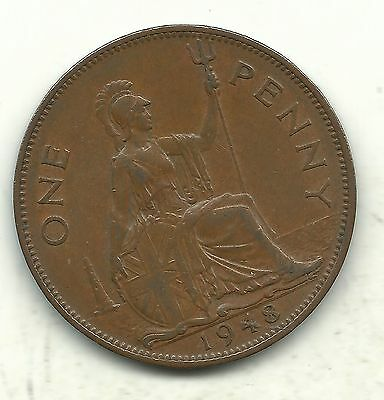 Very Nice High Grade Xf 1948 Great Britain English Penny Cent-Nov103