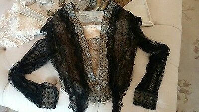 SHABBY antique victorian net lace corset style shirt METALLIC FRENCH LACE AS IS