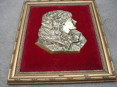 Antique Old Tiffany & co Wall Plaque Bust Heavy Brass Bronze Velvet Back Frame
