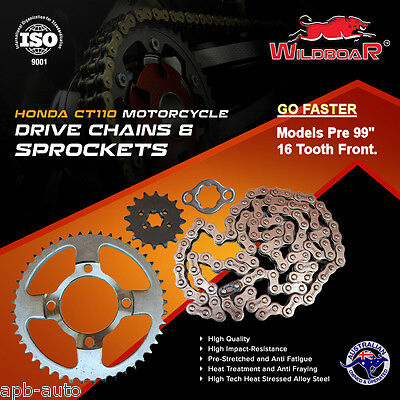Honda Ct110 Ct 110 Postie Bike Motorcycle Chain Sprocket Kit 16T Pre 99 -Go Fast
