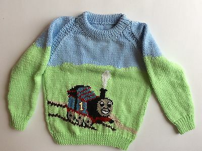 Hand Knitted Thomas the Train Kids Sweater Knitwear for Children Toddler Boys