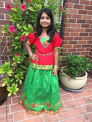 "34"" Age Size 9 - 11 Bollywood Kids Girls Indian Silk Skirt Blouse Green Red"