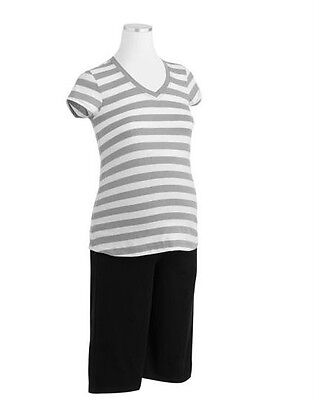 Nwt Stylish Spring/summer 2Pc Maternity Outfit Striped Top Solid Capris Size M