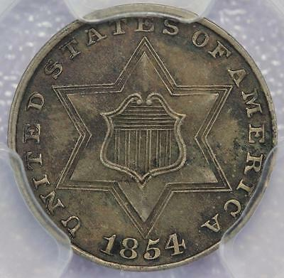 1854 Three Cent Silver PCGS AU53 - Nice Circulated Type Coin *DoubleJCoins* KK21