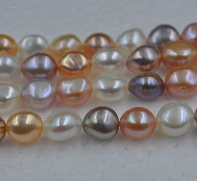 wholesale luster Beautiful color Baroque freshwater pearl loose string 9*9.5-11