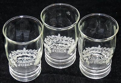 3 Vintage 1930's Pure Orange Juice Depression Era Advertising Glasses