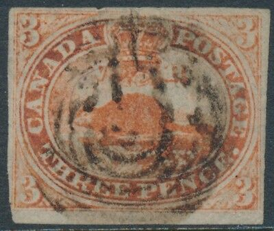 Canada #1 Vf Three Pence Used Stamp With 4 Margins Cv $1,000 Bt7356