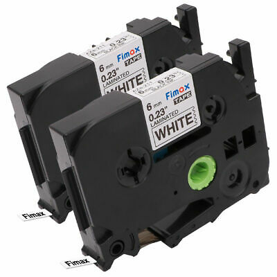 TZe-211 TZ211 Compatible for Brother P-Touch Label Tape Black on White 6mm 2pk
