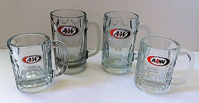 A & W Root Beer Collectible Glass Mugs ~ Mixed Logos & Sizes ~ Heavy Bottom