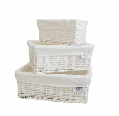 White Wicker Storage Basket With Lining Easter Decoration/Craft School set of 3