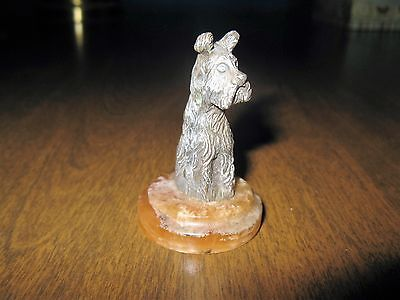 Vintage 800 Sterling Silver Scottie Dog Figurine Mini Statue Italy Agate Base