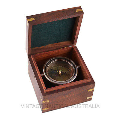 Vintage Nautical Compass Jumble Brass Antique Gift Wooden Box Maritime Decor