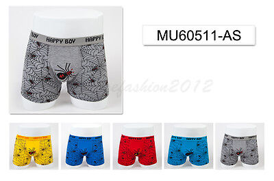 5pc Size 9 8-10 years Comfort Cotton Boys Boxer Briefs Spider Kids Underwear