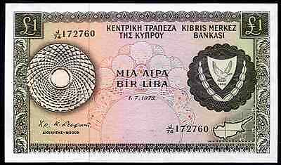Cyprus. One Pound. J/74 172760. 1-7-1975. Almost Uncirculated.