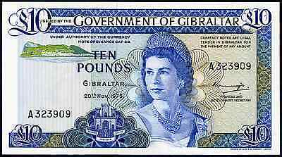 Gibraltar. Ten Pounds, A 323909, 20-11-1975, Almost Uncirculated-Uncirculated.
