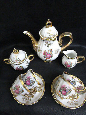Baroque Style Porcelain Espresso Coffee Set - 4 Cups | Made In Japan