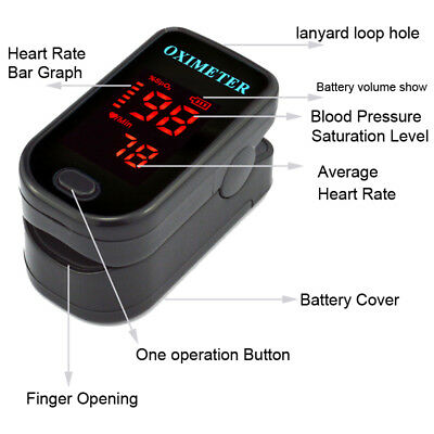 Finger Pulse Oximeter Fingertip Blood Oxygen Meter SPO2 Graph Heart Rate Monitor