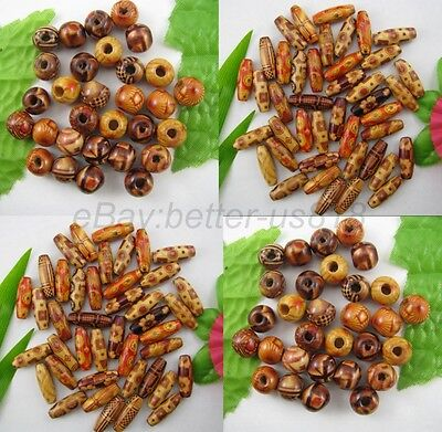 100Pcs MIXED Round & Oval & Shapes Charms WOOD Loose BEADS 10MM 12MM 15MM