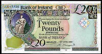 Bank of Ireland. £20. series ZZ. Replacement. 20-4-2008. Uncirculated.