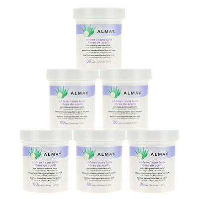 Almay Eye Makeup Remover Pads - Oil Free (80 pads) x6