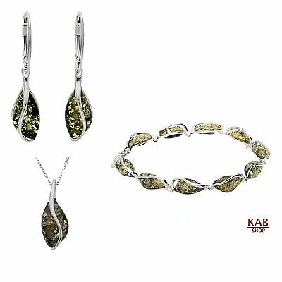 Green Baltic Amber Gemstone & Sterling Silver 925 Jewellery Set, Kab-101