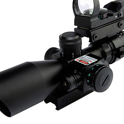 Tactical 2.5-10X40 Rifle Scope W/Red Laser & Holographic Red/Green Dot Sight