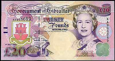 Gibraltar. £20. series AA. 1-7-1995. Almost Uncirculated-Uncirculated.