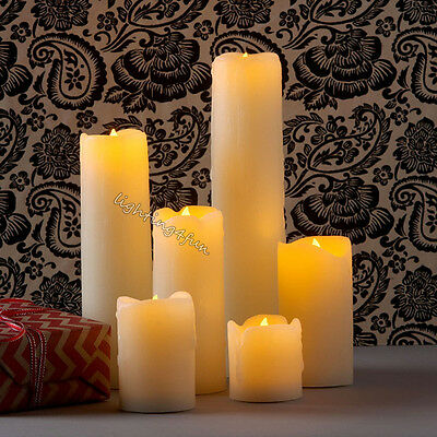 Flickering Flameless 6PCS Batteries Operated LED Pillar Candle With Dripping Wax