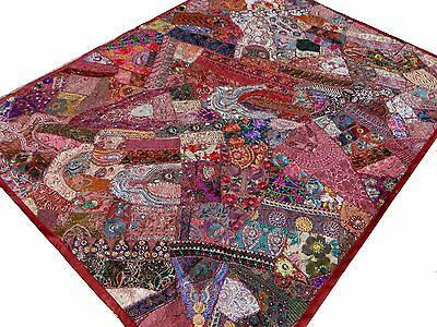 Handmade Patchwork Burgundy Twin Bedspread Quilt Tapestry India Art Embroidery