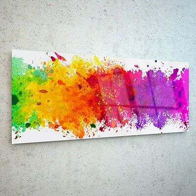 Wall Art Glass Print Canvas Picture Large Colourful Splashes 37391728 125x50cm