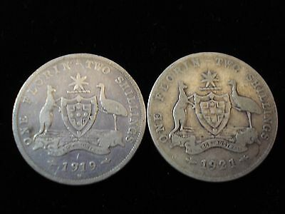 Australian 1919 and 1921 Scarce Date Sterling Silver Coin SM5