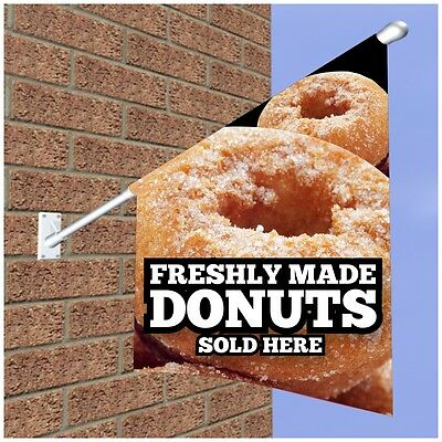 DONUTS FLAG SIGN FOR CATERING CAFE RESTAURANT - Double Sided Wall/Window Flag